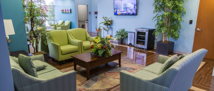 emergency center waiting room with television