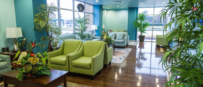 waiting area with plants at emergency room