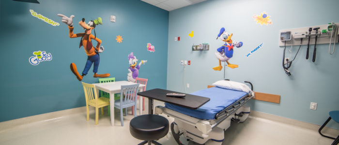 pediatric room with characters