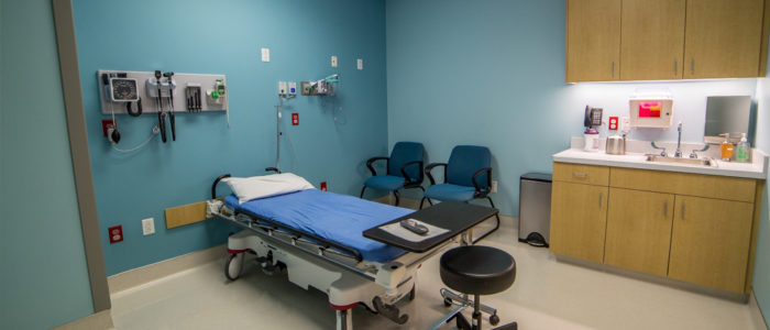 prepped patient room in emergency center
