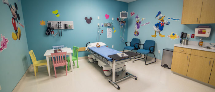 pediatric room with childhood characters
