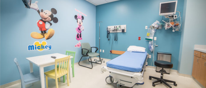 pediatric room at emergency center with tv