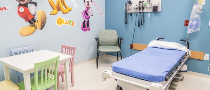 pediatric room with children desk at emergency center