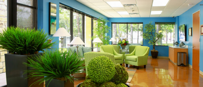 emergency center waiting area with plants