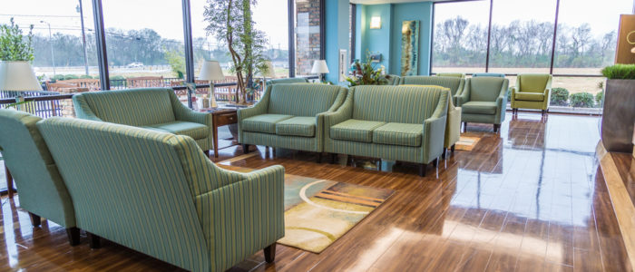 emergency center waiting area with couches