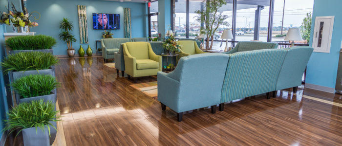 emergency center waiting area with television