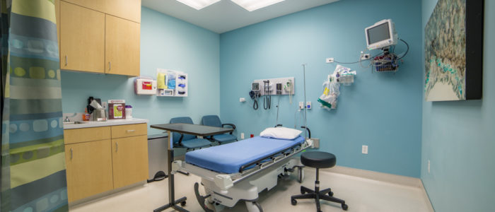 patient room with curtain at emergency center