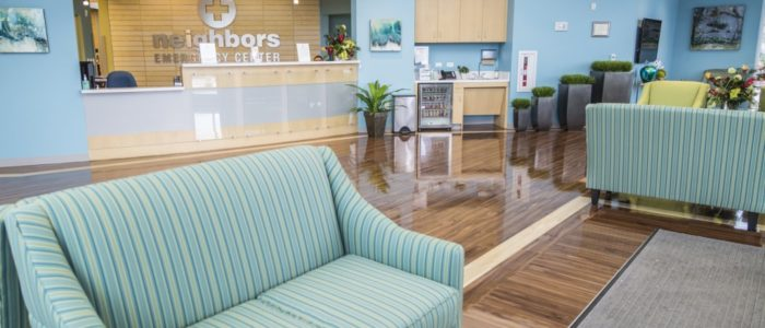 couch in emergency center waiting area