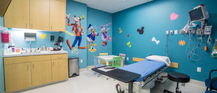Pediatric room at neighbors emergency center right angle