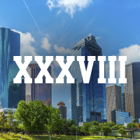 Roman Numerals 38 Over City of Houston Background